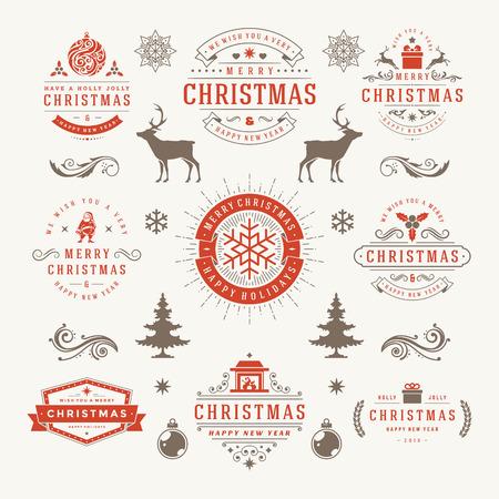 schneeflocke: Frohe Weihnachten und ein frohes neues Jahr w�nscht Typographic Etiketten und Abzeichen Set, Weinlese-Dekorationen, Objekte, Symbole und Elemente, Vektor-Illustration Illustration