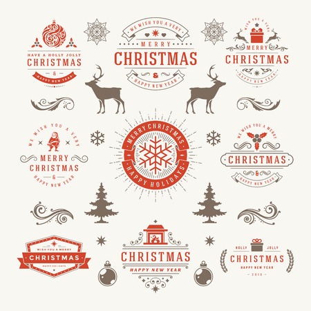 postcard background: Merry Christmas And Happy New Year Wishes Typographic Labels and Badges set, Vintage decorations, objects, symbols and elements, vector illustration