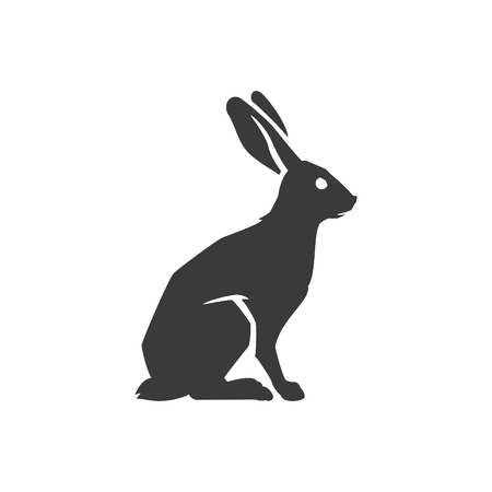 rabbits: Wild Rabbit Side View Isolated On White Background Vector object for Labels, Badges,   other Design. Illustration