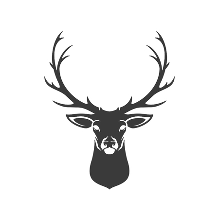Deer Head Silhouette Isolated On White Background Vector object for Labels, Badges,      other Design.