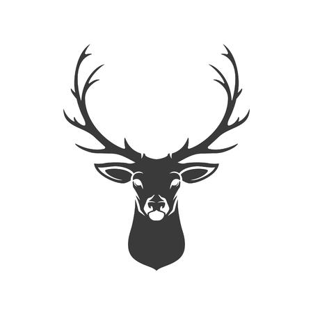 renna: Deer Head silhouette isolato su sfondo bianco oggetto Vector per etichette, scudetti, altro disegno.