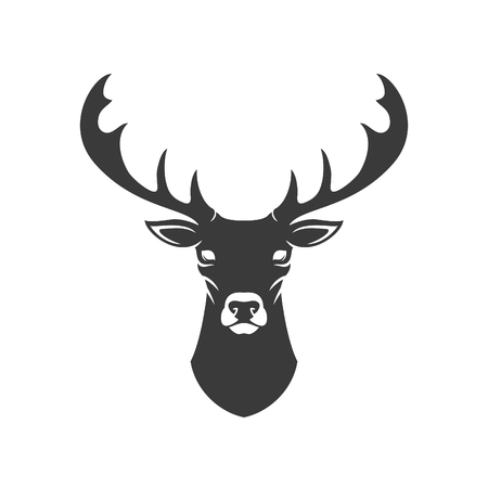 deer hunter: Deer Head Silhouette Isolated On White Background Vector object for Labels, Badges,      other Design.
