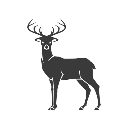 Herten zijaanzicht op witte achtergrond vector object voor etiketten, insignes en andere Design.