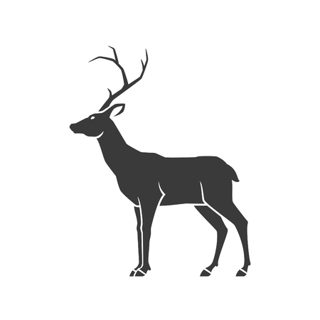 other side of: Deer Side View Isolated On White Background Vector object for Labels, Badges,    and other Design.