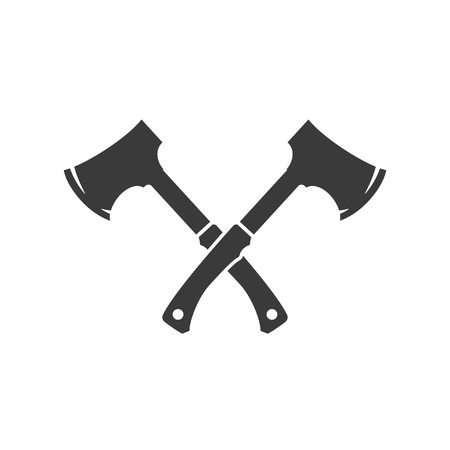 lumberjack: Lumberjack axes crossed FIsolated On White Background Vector object for Labels, Badges,    and other Design. Illustration