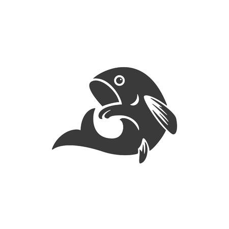 bass fish: Fish Side View Isolated On White Background Vector object for Labels, Badges,    and other Design.