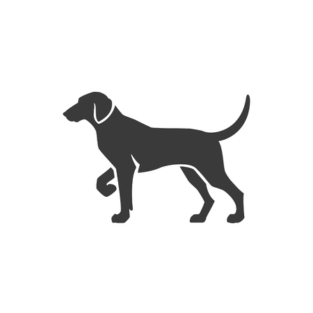 dog outline: Dog Side View Isolated On White Background Vector object for Labels, Badges,    and other Design.