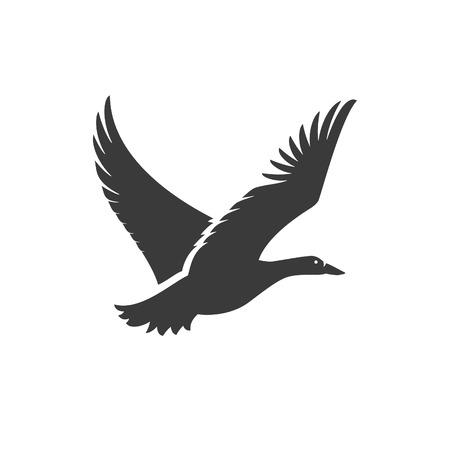 鴨飛んで側ビュー分離に白背景ベクトル オブジェクト ラベル、バッジその他の設計のため。