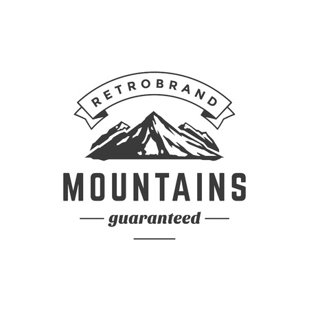 alps: Mountain Vintage Logo Template Emblem. High Rock Silhouette. Label or Badge for Advertising, Adventure  Equipment and other Design. Retro Style Vector Illustration.