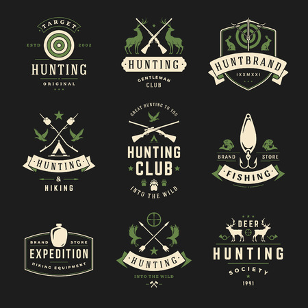 hunter: Set of Hunting and Fishing Labels, Badges, Logos Vector Design Elements Vintage Style. Deer head, hunter weapons, forest wild animals and other objects. Advertising Hunter Equipment.