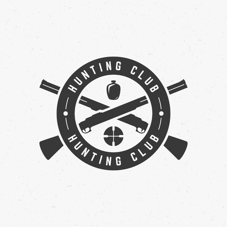 seal gun: Hunting Club Vintage Logo Template Emblem. Cross Guns and Target Silhouette. Label or Badge for Advertising, Hunter Equipment and other Design. Retro Style Vector Illustration.