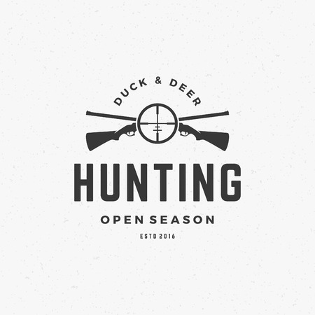 ammo: Hunting Club Vintage Logo Template Emblem. Cross Guns and Target Silhouette. Label or Badge for Advertising, Hunter Equipment and other Design. Retro Style Vector Illustration.