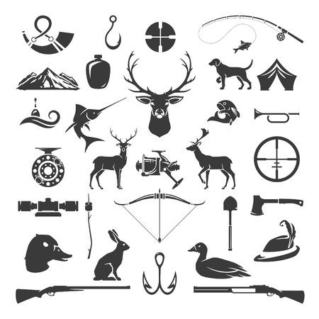 Conjunto de objetos de caza y pesca elementos de diseño vectorial estilo vintage. Cabeza de ciervo, armas de cazador, animales salvajes del bosque y otros aislados en blanco. Ilustración de vector