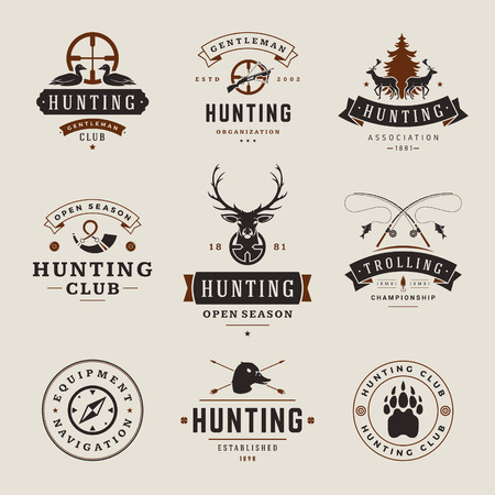 fishing equipment: Set of Hunting and Fishing Labels, Badges,   Vector Design Elements Vintage Style. Deer head, hunter weapons, forest wild animals and other objects. Advertising Hunter Equipment.