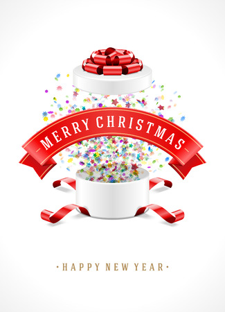 red bow ribbon: Gift box and with red bow ribbon vector background. Merry Christmas message.