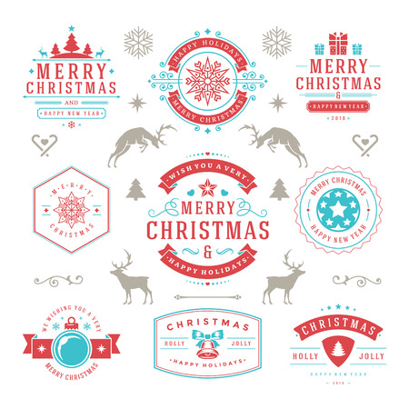 badge logo: Merry Christmas And Happy New Year Wishes Typographic Labels and Badges set, Vintage decorations, objects, symbols and elements, vector illustration