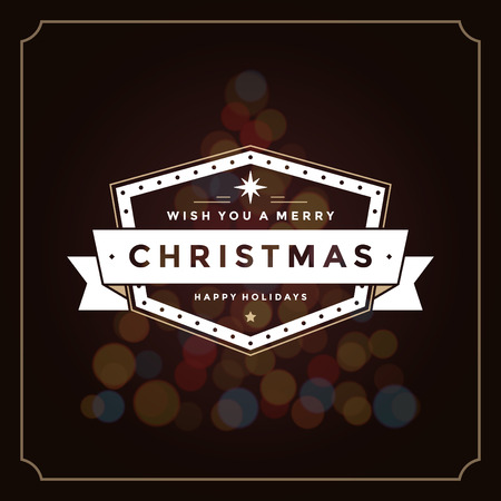 christmas lights background: Christmas lights and typography label design vector background. Greeting card or invitation and holidays wishes. Illustration