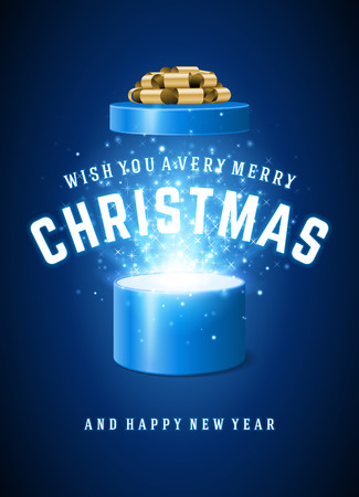 open box: Open Gift Box Magic Light fireworks and Christmas Wishes and Happy New Year message vector background.