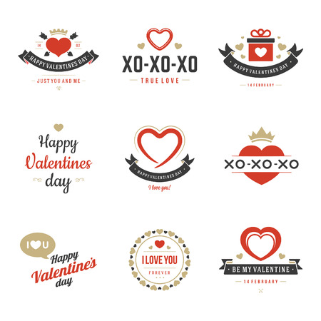 unusual valentine: Valentines Day labels, badges, heart icons, symbols, greetings cards,, illustrations and typography vector design elements Illustration