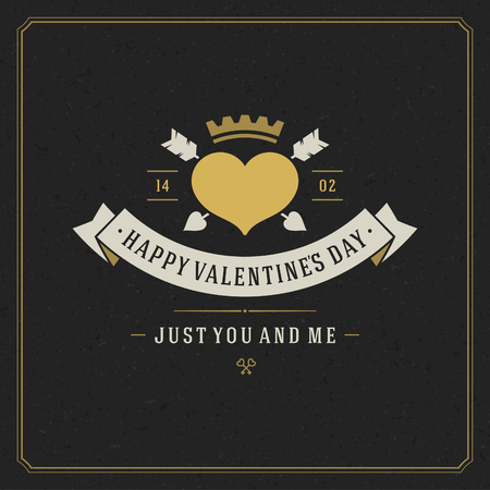 love you: Happy Valentines day Greeting Card and black paper Vintage vector background Illustration