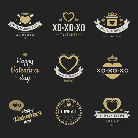unusual valentine: Valentines Day labels, badges, heart icons, symbols, greetings cards, illustrations and typography vector design elements
