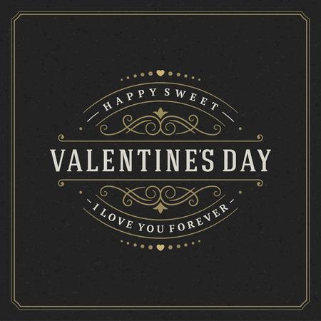 Feliz tarjeta de felicitación de San Valentín y fondo de la vendimia de papel negro. Bueno para invitación del día de San Valentín, tarjeta de San Valentín. Ilustración de vector