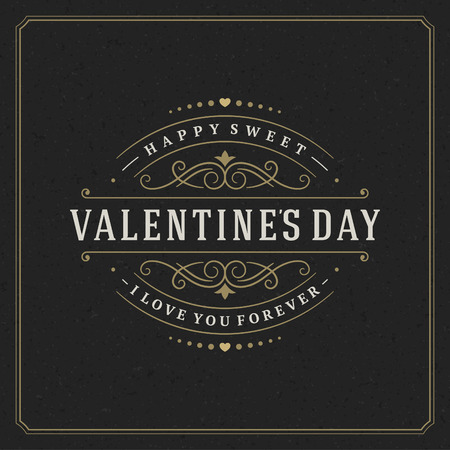 Happy Valentines day Greeting Card and black paper Vintage background. Good for Valentines day invitation, Valentine card.