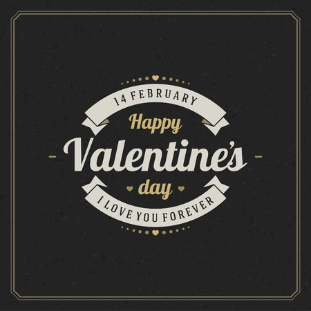 texts: Happy Valentines day Greeting Card and black paper Vintage background. Good for Valentines day invitation, Valentine card.