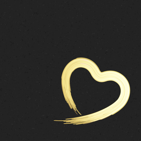 shiny heart: Hand drawn golden shiny heart shape Valentines day Greeting Card background. Good for Valentines day invitation, Valentine card, Valentines day background.