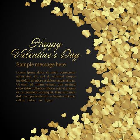 Golden glanzende hartenconfettien Valentijnsdag of wenskaart achtergrond van het huwelijk. Goed voor Valentijnsdag uitnodiging, valentijn kaart, Valentijnsdag achtergrond.