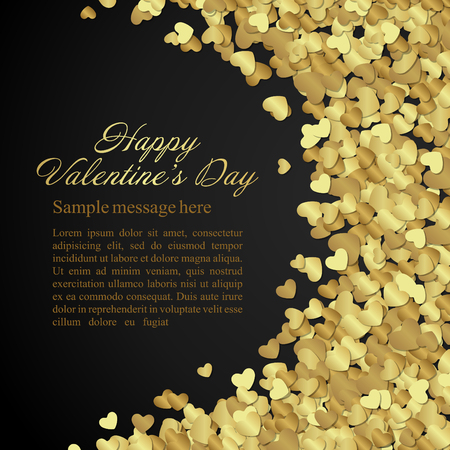 valentines card: Golden shiny hearts confetti Valentines day or Wedding Greeting Card background. Good for Valentines day invitation, Valentine card, Valentines day background. Illustration