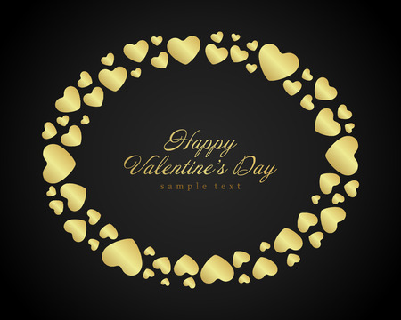shiny hearts: Golden shiny hearts confetti Valentines day or Wedding Greeting Card background. Good for Valentines day invitation, Valentine card, Valentines day background. Illustration
