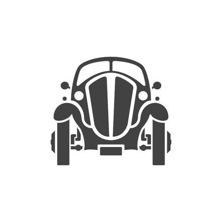 carro antiguo: Aislado coche viejo en el fondo blanco icono del vector en estilo retro. Vectores
