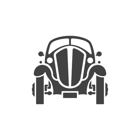 shiny car: Old Car Isolated on white background vector icon in retro style.