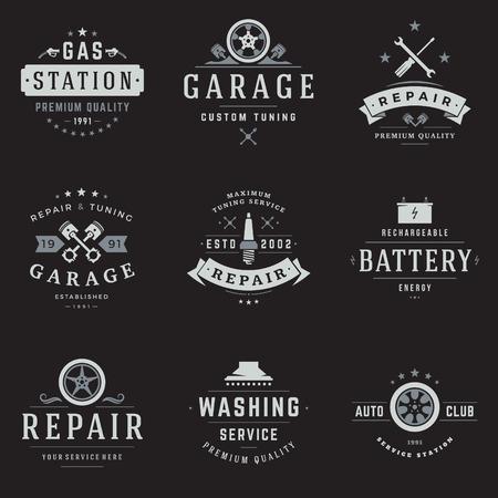 Ensemble de modèles de service de voiture. Objet vectoriel et icônes pour étiquettes de garage, insignes de voiture, conception de réparations, emblèmes graphiques. Silhouettes de Whel, symboles de piston.