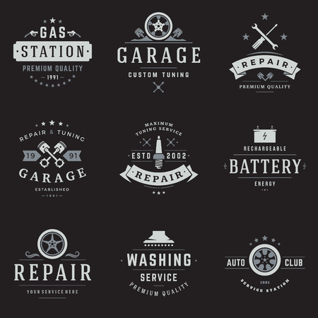 Car Service  Templates Set. Vector object and Icons for Garage Labels, Car Badges, Repairs  Design, Emblems Graphics. Whel Silhouettes, Piston Symbols. Vettoriali