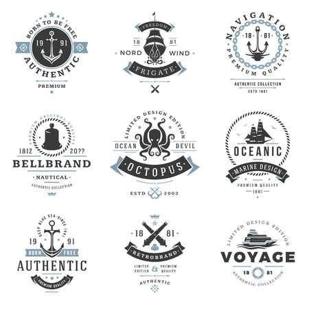 marine ship: Nautical  Templates Set. Vector object and Icons for Marine Labels, Sea Badges, Anchor  Design, Emblems Graphics. Ship Silhouettes, Anchor Symbols.