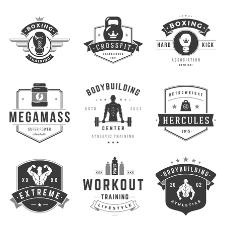 health and fitness: Fitness  Templates Set. Vector object and Icons for Sport Labels, Gym Badges, Health  Design, Emblems Graphics. Man Silhouettes, Exercise  , Barbell and Weight Symbols.