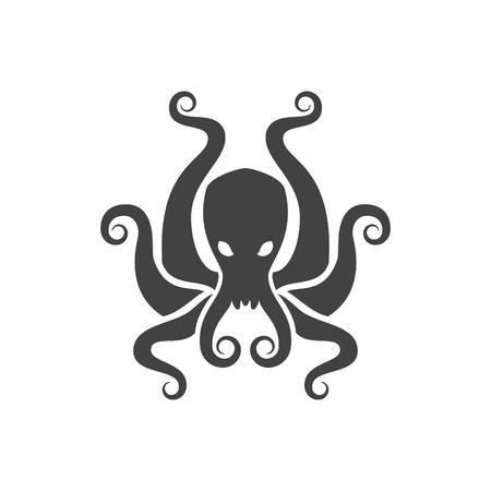 문어 벡터 일러스트 레이 션. Poulpe 실루엣 흰색 배경에 고립입니다. 레이블, 배지, 디자인 벡터 객체입니다. 해산물, 문어 아이콘입니다.