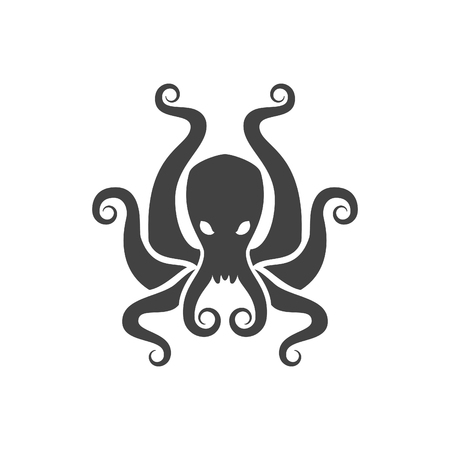 Octopus Vector Illustration. Poulpe Silhouette Isolated On White Background. Vector object for Labels, Badges,   Design. Seafood  , Octopus Icon.
