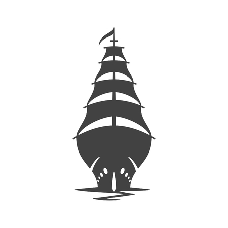 old ship: Sailing Ship Vector Illustration. Ship Silhouette Isolated On White Background. Vector object for Labels, Badges,  Design. Nautical  , Old Ship Icon. Illustration