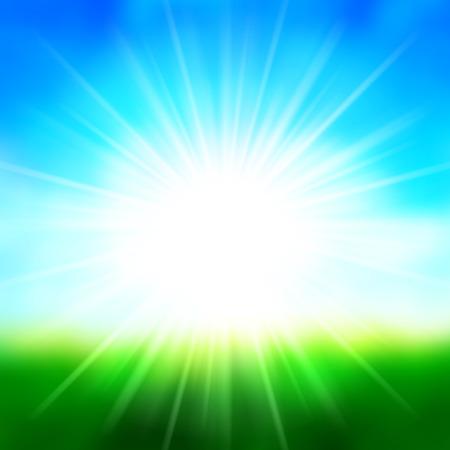 여름 배경 렌즈 플레어, 잔디 필드 풍경 벡터 일러스트와 함께 하늘과 태양 빛.