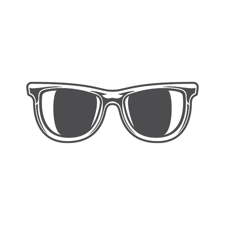 sun glasses: Sun Glasses Isolated on white background vector icon in retro style. Can be used for  badge. Illustration
