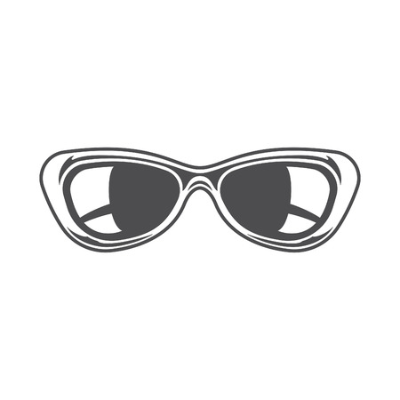 sun glasses: Sun Glasses Isolated on white background vector icon in retro style. Can be used for   badge.