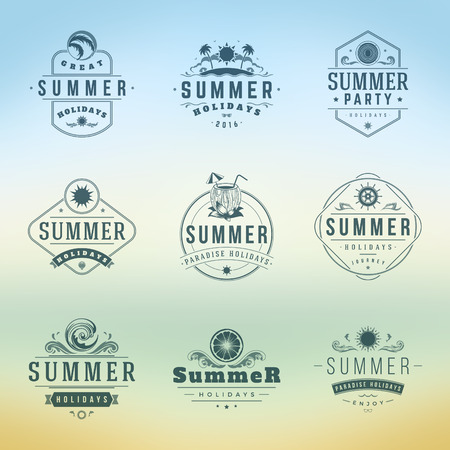 advertisement: Summer Holidays Typography Labels or Badges Vector Design, Summer Silhouettes and Icons for Posters, Greeting Cards and Advertising. Vintage style.