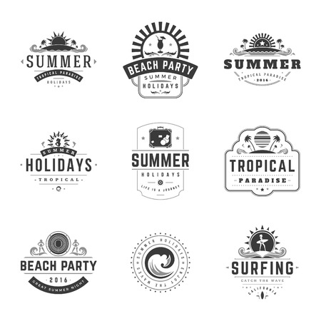 summer holiday: Summer Holidays Typography Labels or Badges Vector Design, Summer Silhouettes and Icons for Posters, Greeting Cards and Advertising. Vintage style.