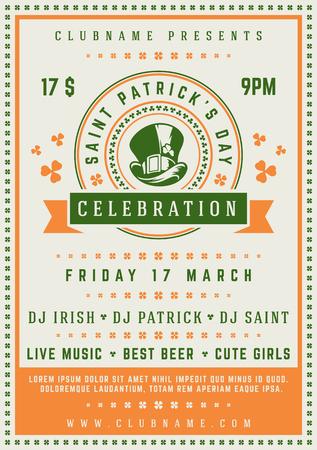 Saint Patricks Day Retro Typographic Party Poster Background. Vintage Vector Illustration. Illustration