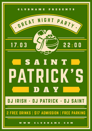 celtic: Saint Patricks Day Retro Typographic Party Poster Background. Vintage Vector Illustration. Illustration