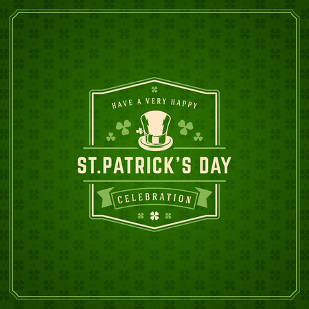 17: Saint Patricks Day Retro Typographic Badge on Pattern Background. Vintage Vector design greetings card or poster.