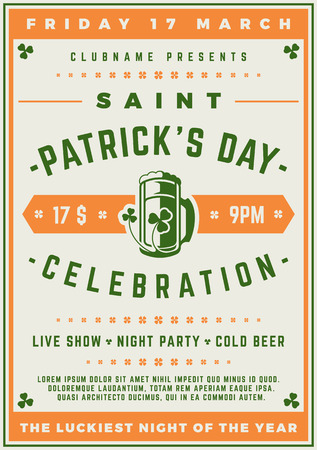 Saint Patricks Day Retro Typographic Party Poster Background. Vintage Vector Illustration. Illustration